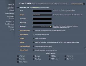 On peut ensuite configurer Couchpotato pour utiliser Transmission dans la partie « Downloaders ».