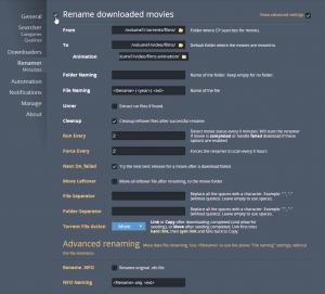 C'est là qu'on va pouvoir faire le lien entre films et films d'animation. Dans la partie Renamer. On peut alors renseigner le dossier que Couchpotato va devoir aller vérifier régulièrement et les dossiers dans lesquels il ira déplacer les fichiers. On peut également choisir le nom qu'aura alors le fichier (le renommage avec au minimum le nom et l'année fonctionne extrêmement bien, surtout avec XBMC).